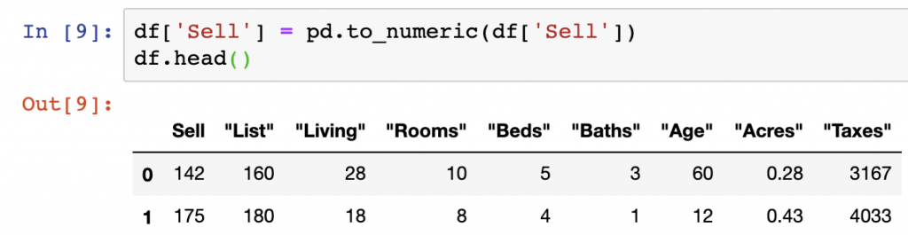 Change column data type pandas with Pandas.to_numeric()